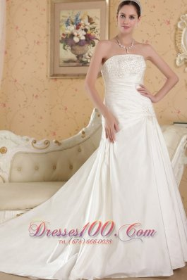 Perfect Hall Bridal Gowns Chapel Train Taffeta Appliques