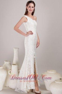 One Shoulder Slit Destination Lace Wedding Dress