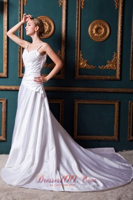 Spring A-line Straps Wrapped Wedding Gowns Chapel Train