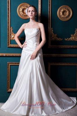 Criss-cross Ruch Wedding Gowns Strapless Court Appliques