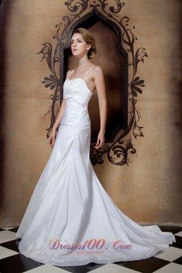 Simply Princess Wedding Dress Spaghetti Straps Court Train