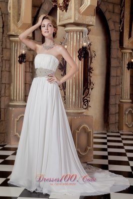 Gilding Chiffon Sash Beach Wedding Dress Fairy Tale Court