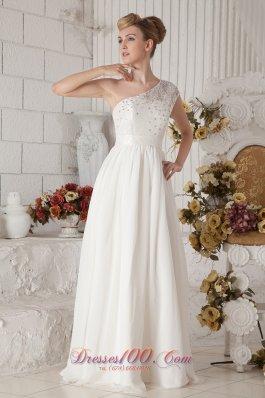 White Beaded One Shoulder Beach Wedding Dress Floor-length