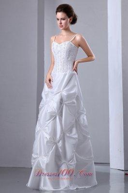 Elegant A-line Floor-length Wedding Dress Taffeta Beading