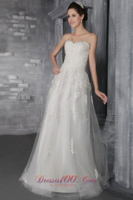 Exquisite Empire Tulle Lace Wedding Dress Sweetheart Sweep