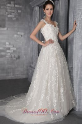 Luxurious Empire Appliques Wedding Gowns Straps Tulle
