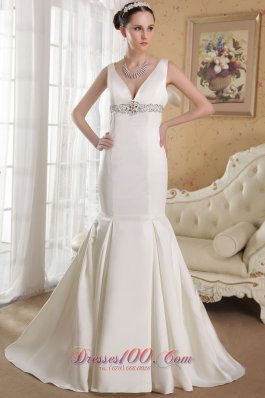 Mermaid V-neck Bridal Dress Gilding Court Train Satin