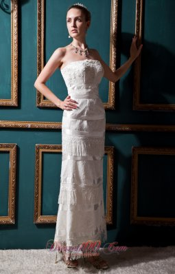 Unique Column Ankle-length Lace Wedding Dress Special Fabric