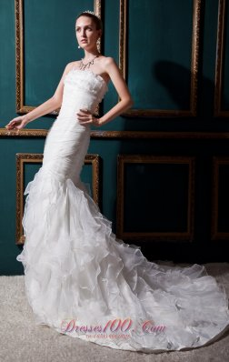 Beautiful Mermaid Bridal Gowns Ruffles Court Train Organza