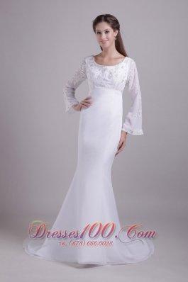 Mermaid Scoop Beach Wedding Dress Sleeved Embroidery