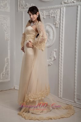 Retro Champagne Lace Dress for Golden Wedding Column Gingle
