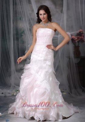 Buttons Ruffled Bridal Dress A-line Brush Train Organza