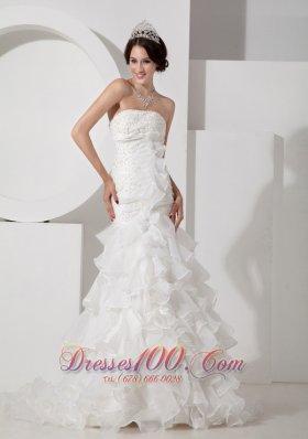 Luxurious Mermaid Wedding Dress Appliques Strapless Organza