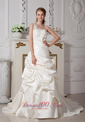Ivory One Shoulder Appliques Wedding Bridal Dress Court