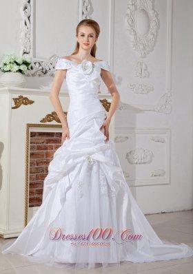 Elegant Off the Shoulder White Wedding Dress Unique Design