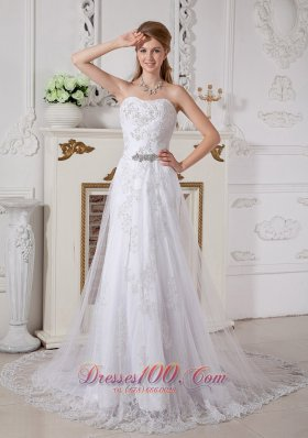 Free Delivery Empire Lace Bridal Dress Cathedral Train