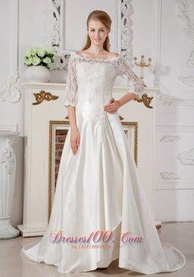 Ever Popular Off Shoulder Lace Wedding Dress Court Buttons