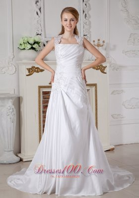 Customize Cap Sleeved Square Bridal Gowns Appliques Court