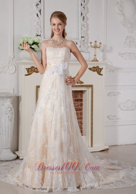Lovely Champagne Empire Wedding Dress Lace Court Train