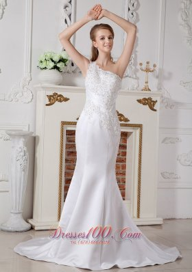 Lace Wedding Dress Mermaid One Shoulder Court Train Satin