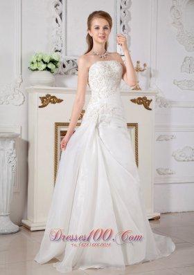 Princess Strapless Bridal Dress Lace Wedding Reception