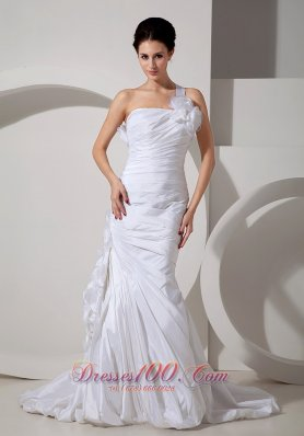 Best Wedding Gowns Mermaid One Shoulder Hand Made Flowers