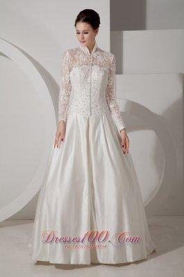 Fashion Unique Lace Wedding Dress A-line High-neck Brush