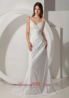 Custom Made Brooch Wedding Dress Spaghetti Straps Ruch