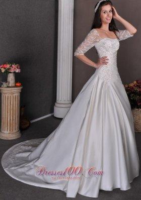 Classic Church Wedding Dress A-line Square Appliques Satin