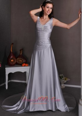 Lace-up Silver Brooch V-neck Themed Wedding Dress