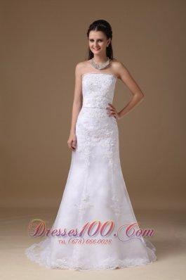 Princess Lace Wedding Dress A-line Strapless Bowknot