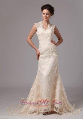 Champagne Lace Peekaboo Keyhole Wedding Dress Clasp Handle