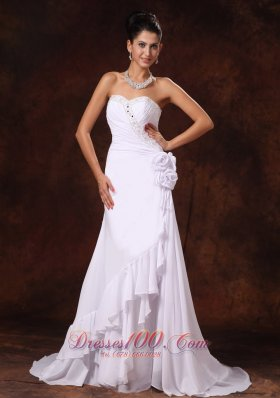 Chiffon Structured Wedding Gowns Ruffles Beading Flowers