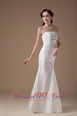 Custom Made Column Bridal Dress Strapless Floor-length