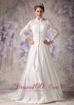 Convertible Ivory Winter Wedding Dress A-line High-neck Lace