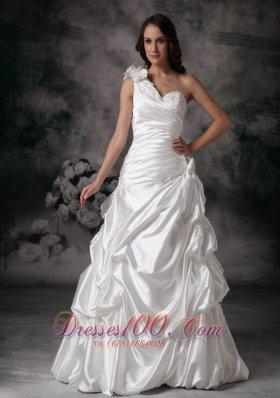 One Shoulder Bridal Ball Dress Pick ups Handle Flowers