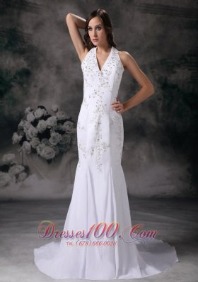 Elegant Mermaid Halter Wedding Bridal Dress Crystal V-neck