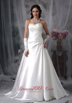 Customize Sweetheart Wedding Gowns Pearls Beading Court