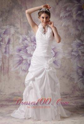 A-line Halter Wedding Gowns Pleated Taffeta Handle Flowers