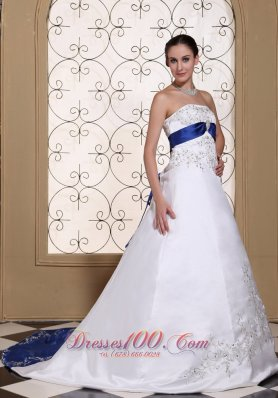White And Royal Blue Embroidery Wedding Bridal Dress 2017