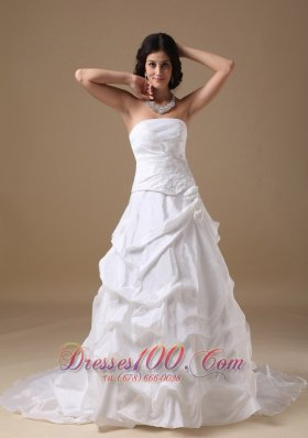 A-line Maternity Wedding Dress Strapless Taffeta Appliques