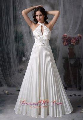 White Plus Size Wedding Bridal Dress High-neck Appliques