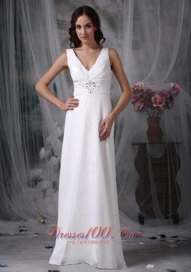 White Apron Beach Wedding Dress Straps V-neck Floor-length