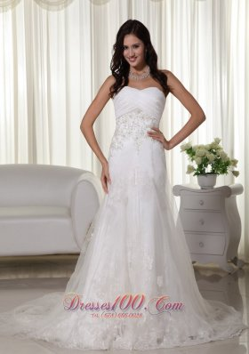 A-line Wedding Gown Queen Katherine Style Sweetheart Tulle