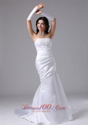 Column Strapless Lace Wedding Bridal Dress Brush Train