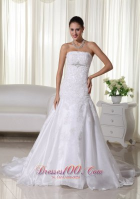 Spring Mermaid Strapless Lace Wedding Bridal Dress Brooch