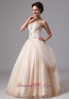 Champagne Layered Lace Wedding Bridal Ball Gowns Appliques