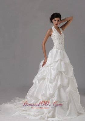 Halter Lace White Dresses Pick-ups For Wedding Reception