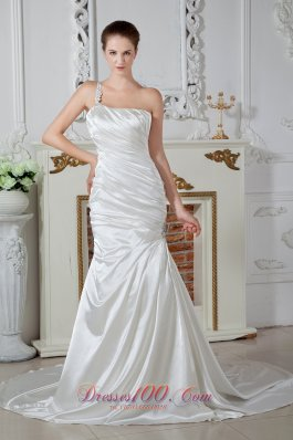 Mermaid One Shoulder Bridal Dress Court Taffeta Beaded