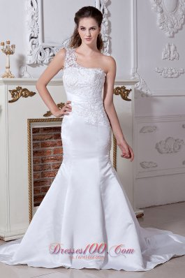 Embroidery Mermaid One Shoulder Wedding Gowns Belt Empire